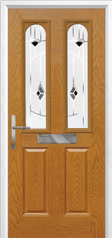 2 Panel 2 Arch Murano Composite Front Door in Oak