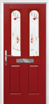 2 Panel 2 Arch Murano Composite Front Door in Red