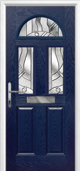 2 Panel 2 Square 1 Arch Abstract Composite Front Door in Blue