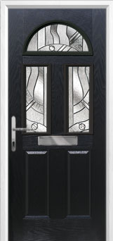 2 Panel 2 Square 1 Arch Abstract Composite Front Door in Black