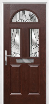 2 Panel 2 Square 1 Arch Abstract Composite Front Door in Darkwood