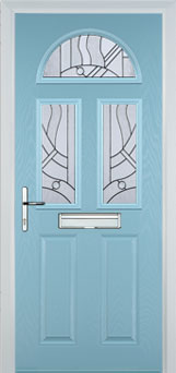 2 Panel 2 Square 1 Arch Abstract Composite Front Door in Duck Egg Blue