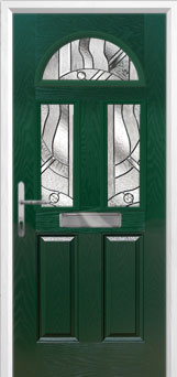 2 Panel 2 Square 1 Arch Abstract Composite Front Door in Green