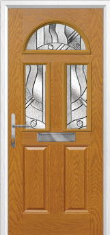 2 Panel 2 Square 1 Arch Abstract Composite Front Door in Oak