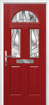2 Panel 2 Square 1 Arch Abstract Composite Front Door in Red