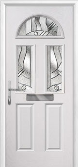 2 Panel 2 Square 1 Arch Abstract Composite Front Door in White