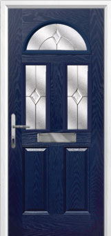 2 Panel 2 Square 1 Arch Classic Composite Front Door in Blue