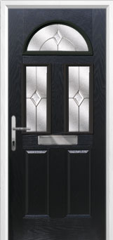2 Panel 2 Square 1 Arch Classic Composite Front Door in Black