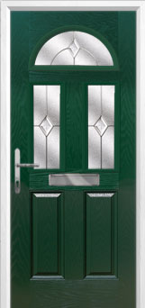 2 Panel 2 Square 1 Arch Classic Composite Front Door in Green