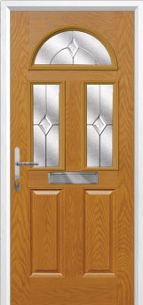 2 Panel 2 Square 1 Arch Classic Composite Front Door in Oak
