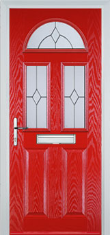2 Panel 2 Square 1 Arch Classic Composite Front Door in Poppy Red