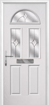 2 Panel 2 Square 1 Arch Classic Composite Front Door in White