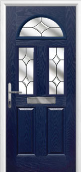 2 Panel 2 Square 1 Arch Crystal Diamond Composite Front Door in Blue