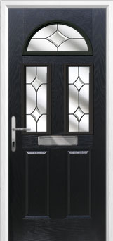 2 Panel 2 Square 1 Arch Crystal Diamond Composite Front Door in Black