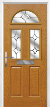 2 Panel 2 Square 1 Arch Crystal Diamond Composite Front Door in Oak