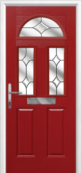 2 Panel 2 Square 1 Arch Crystal Diamond Composite Front Door in Red
