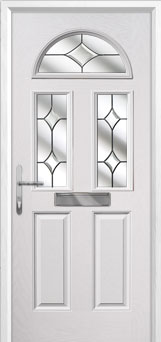 2 Panel 2 Square 1 Arch Crystal Diamond Composite Front Door in White
