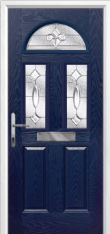 2 Panel 2 Square 1 Arch Zinc/Brass Art Clarity Composite Front Door in Blue