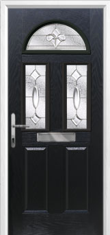 2 Panel 2 Square 1 Arch Zinc/Brass Art Clarity Composite Front Door in Black