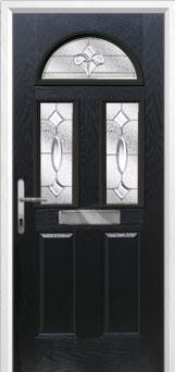 2 Panel 2 Square 1 Arch Zinc/Brass Art Clarity Composite Front Door in Black