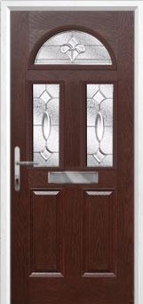 2 Panel 2 Square 1 Arch Zinc/Brass Art Clarity Composite Front Door in Darkwood