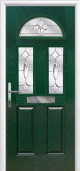 2 Panel 2 Square 1 Arch Zinc/Brass Art Clarity Composite Front Door in Green