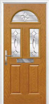 2 Panel 2 Square 1 Arch Zinc/Brass Art Clarity Composite Front Door in Oak