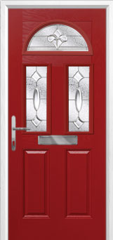 2 Panel 2 Square 1 Arch Zinc/Brass Art Clarity Composite Front Door in Red