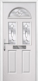 2 Panel 2 Square 1 Arch Zinc/Brass Art Clarity Composite Front Door in White