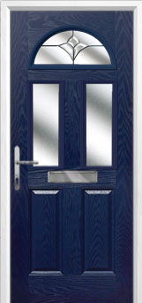 2 Panel 2 Square 1 Arch Crystal Tulip Composite Front Door in Blue