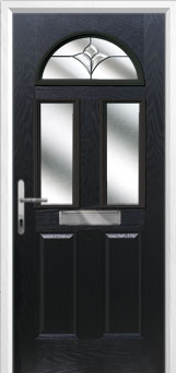 2 Panel 2 Square 1 Arch Crystal Tulip Composite Front Door in Black