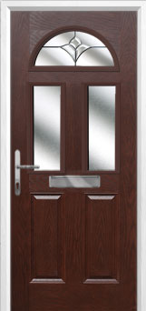 2 Panel 2 Square 1 Arch Crystal Tulip Composite Front Door in Darkwood