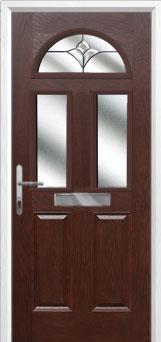 2 Panel 2 Square 1 Arch Crystal Tulip Composite Front Door in Darkwood