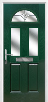 2 Panel 2 Square 1 Arch Crystal Tulip Composite Front Door in Green