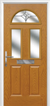 2 Panel 2 Square 1 Arch Crystal Tulip Composite Front Door in Oak