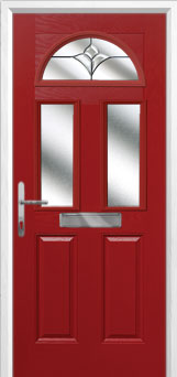 2 Panel 2 Square 1 Arch Crystal Tulip Composite Front Door in Red