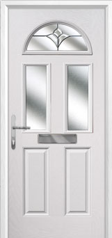 2 Panel 2 Square 1 Arch Crystal Tulip Composite Front Door in White