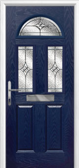 2 Panel 2 Square 1 Arch Elegance Composite Front Door in Blue