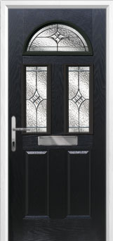 2 Panel 2 Square 1 Arch Elegance Composite Front Door in Black