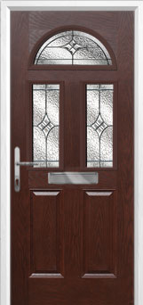 2 Panel 2 Square 1 Arch Elegance Composite Front Door in Darkwood