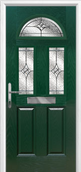 2 Panel 2 Square 1 Arch Elegance Composite Front Door in Green