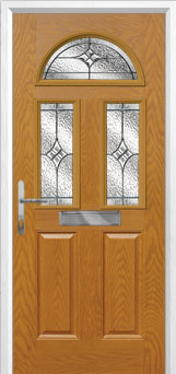 2 Panel 2 Square 1 Arch Elegance Composite Front Door in Oak