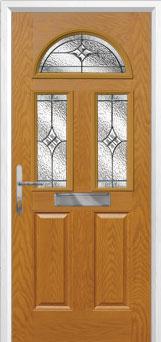 2 Panel 2 Square 1 Arch Elegance Composite Front Door in Oak