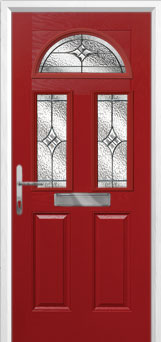 2 Panel 2 Square 1 Arch Elegance Composite Front Door in Red
