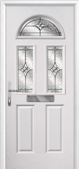 2 Panel 2 Square 1 Arch Elegance Composite Front Door in White