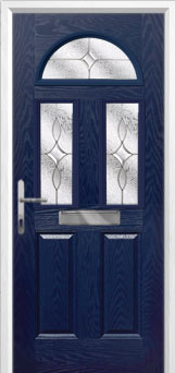 2 Panel 2 Square 1 Arch Flair Composite Front Door in Blue