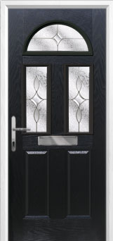 2 Panel 2 Square 1 Arch Flair Composite Front Door in Black