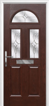 2 Panel 2 Square 1 Arch Flair Composite Front Door in Darkwood