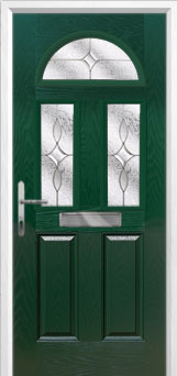 2 Panel 2 Square 1 Arch Flair Composite Front Door in Green