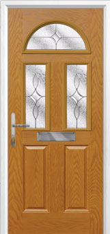 2 Panel 2 Square 1 Arch Flair Composite Front Door in Oak